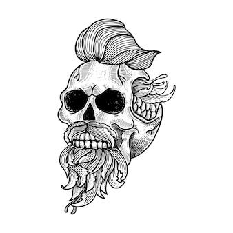 Schedel kunstwerk lijntekeningen voor tatoeage en t-shirt