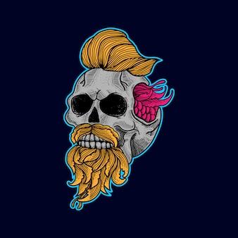 Schedel kunstwerk tattoo en t-shirt vector premium