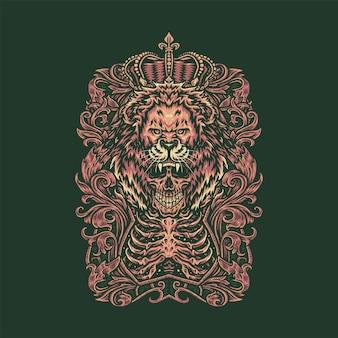 Schedel leeuwenkoning illustratie,