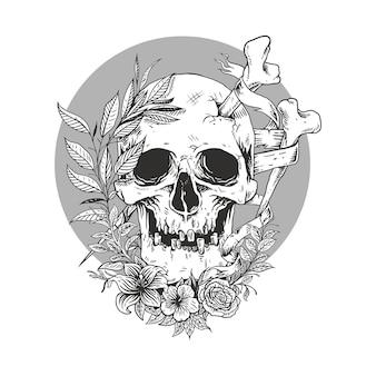 Schedel lijn schets met bloem Premium Vector