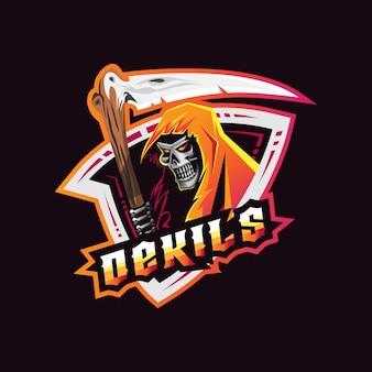 Schedel logo mascotte ontwerp