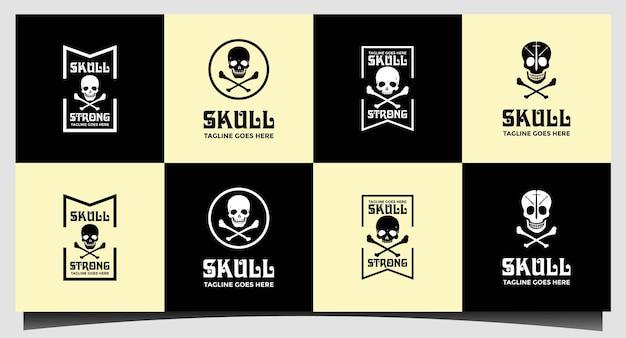 Schedel logo ontwerp sjabloon vector instellen