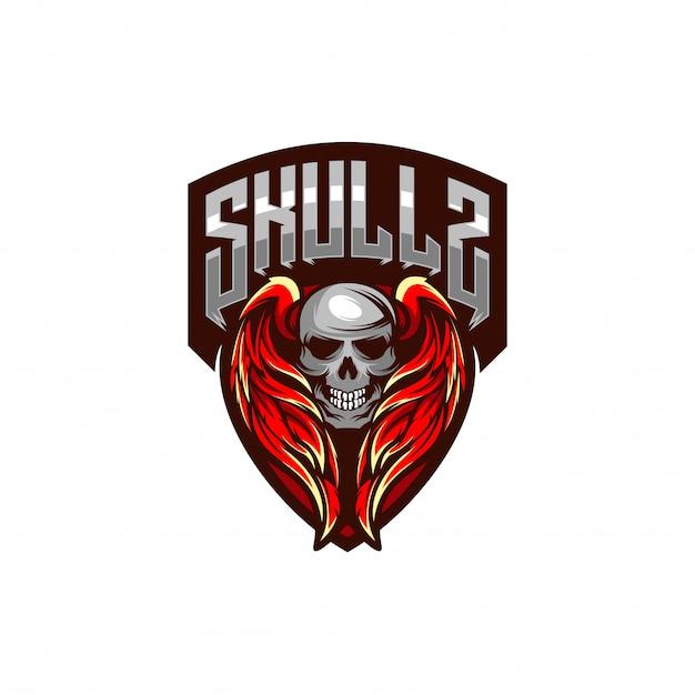 Schedel logo sjabloon met vleugels