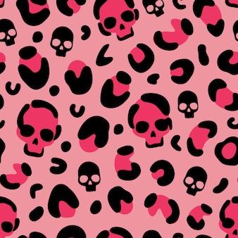 Schedel luipaard print camouflage luipaard vector naadloze patroon op roze achtergrond leopard skin