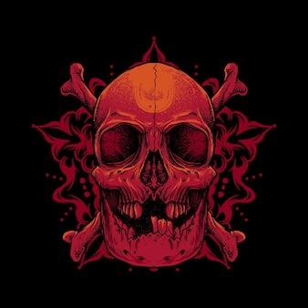 Schedel mandala logo vectorillustratie