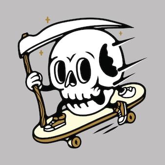 Schedel mascotte cartoon skateboarden illustratie