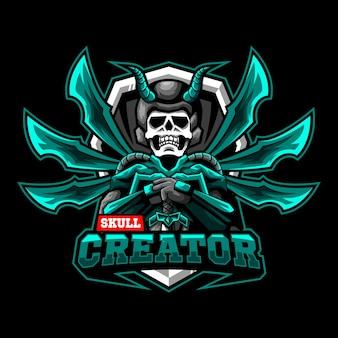 Schedel mascotte karakter esport logo team