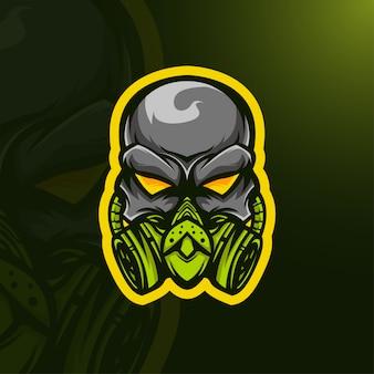 Schedel masker logo Premium Vector