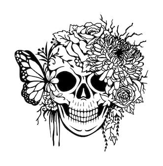 Schedel met chrysant, rozen, blad en vlinder voor afdrukken, graveren, kleuren enzovoort. vector illustratie