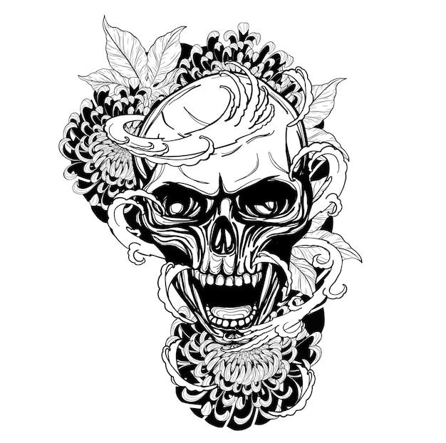 Schedel met chrysanthemum tattoo met de hand tekenen
