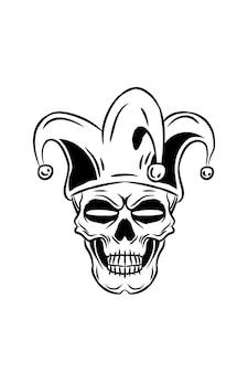 Schedel met circus clown vectorillustratie