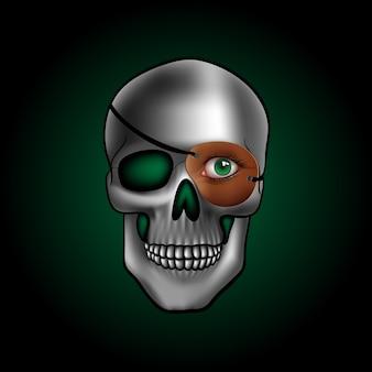 Schedel met één groen oog