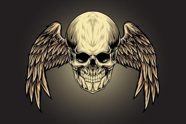 Schedel met engelenvleugels illustratie