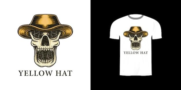 Schedel met gele hoed voor t-shirtontwerp