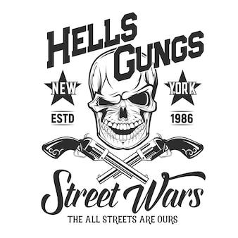 Schedel met geweren t-shirt print mockup