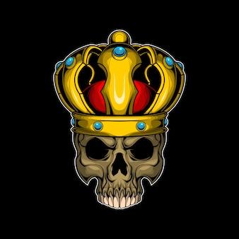Schedel met gouden kroon