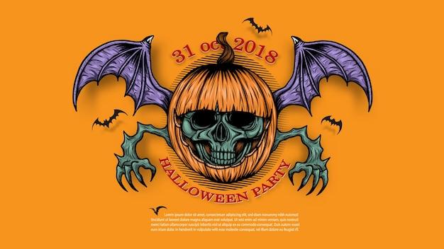 Schedel met halloween-pompoenachtergrond met de hand tekening.