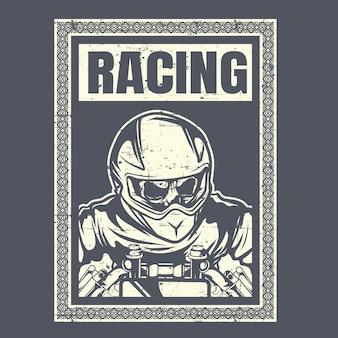 Schedel met helm café racer
