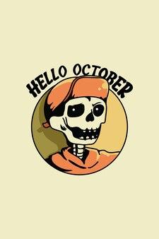 Schedel met hoed in hallo oktober cartoon afbeelding