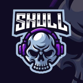 Schedel met hoofdtelefoon mascotte gaming logo sjabloon voor esports streamer facebook youtube