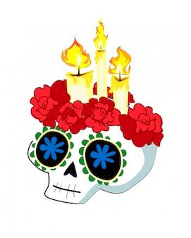 Schedel met kaarsen en rozen.