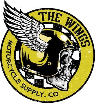 Schedel met klassieke helm vector logo