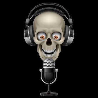Schedel met koptelefoon met microfoon