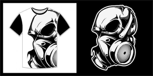 Schedel met masker, t-shirtontwerp