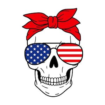 Schedel met rode bandana en zonnebril american flag print vector illustration