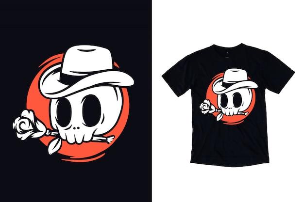 Schedel met roos en cowboyhoedillustratie voor t-shirt