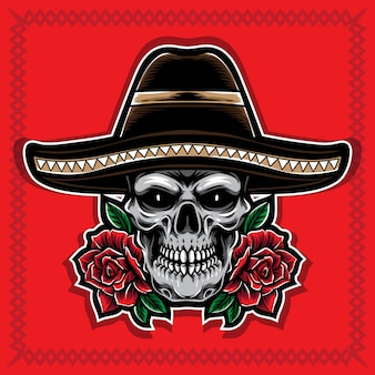 Schedel met roos en sombrero hoed vector