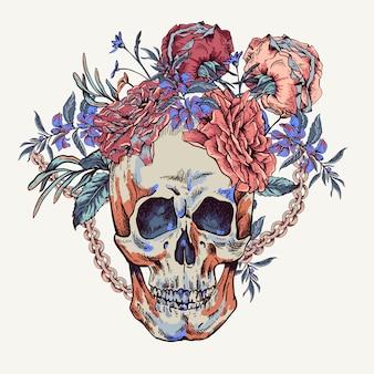 Schedel met rozen, kettingen en wilde bloemen day of the dead