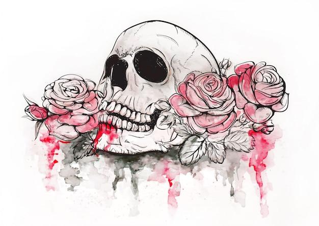 Schedel met rozen
