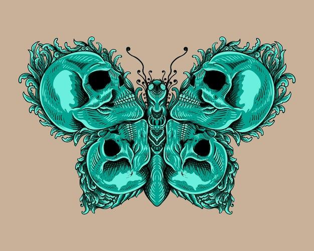 Schedel met vlinder zwart-wit ornament stijl