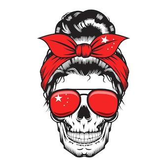 Schedel moeder china hoofdband chinees ontwerp op witte achtergrond. halloween. schedel hoofd logo's of pictogrammen. vectorillustratie.