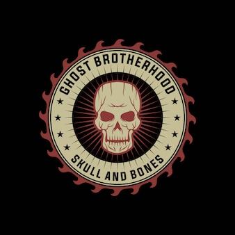 Schedel motorfiets club vintage logo ontwerpsjabloon
