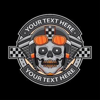 Schedel motorfiets logo badge