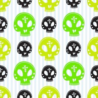 Schedel naadloos patroon. vector halloween achtergrond. groen schedels cadeaupapier