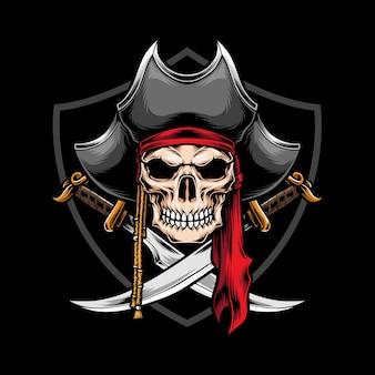 Schedel piraat met gekruiste zwaard illustratie