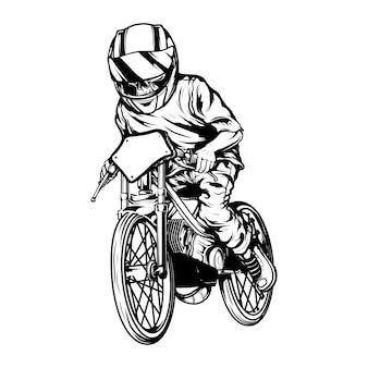 Schedel racen met helm