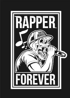 Schedel rapper zwart-wit