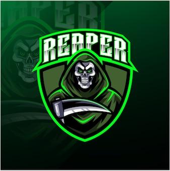 Schedel reaper logo mascotte ontwerp
