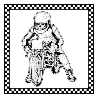 Schedel rijden op een motorfiets