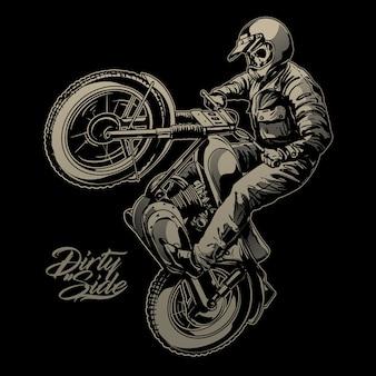 Schedel rijden vintage motorfiets