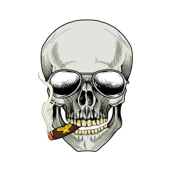 Schedel rokende sigaret en zonnebril dragen op witte achtergrond