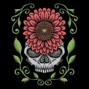 Schedel roos decoratie vectorillustratie