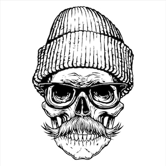 Schedel snor bril hoed zwarte tattoo ontwerp hand getrokken