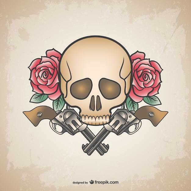 Schedel tatoeage geweren en bloemen ontwerp