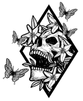 Schedel tattoo kunst met bloemen tekening schets zwart en wit