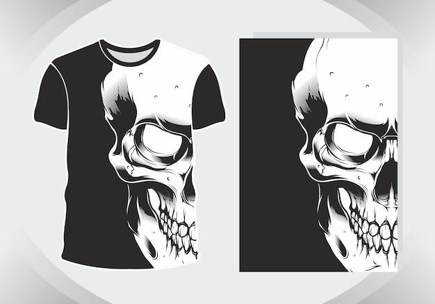 Schedel ter illustratie en t-shirt